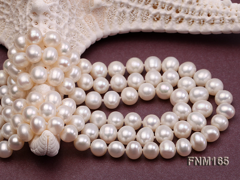 3 strand 7-8mm white round freshwater pearl necklace with sterling sliver clasp  big Image 5