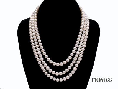 3 strand 7-8mm white round freshwater pearl necklace with sterling sliver clasp  FNM165 Image 1