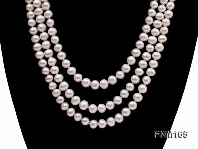 3 strand 7-8mm white round freshwater pearl necklace with sterling sliver clasp  FNM165 Image 2