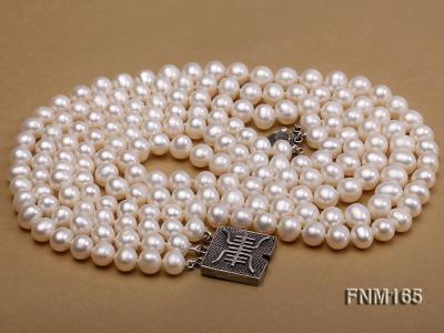 3 strand 7-8mm white round freshwater pearl necklace with sterling sliver clasp  FNM165 Image 4