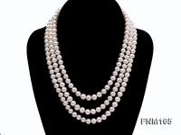 3 strand 7-8mm white round freshwater pearl necklace with sterling sliver clasp  FNM165