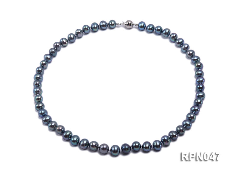 Fashionable Single-strand 8.5-9mm Black Round Freshwater Pearl Necklace-Sterling Silver Clasp big Image 1