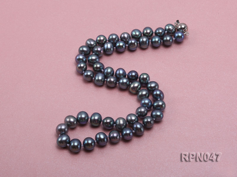 Fashionable Single-strand 8.5-9mm Black Round Freshwater Pearl Necklace-Sterling Silver Clasp big Image 2
