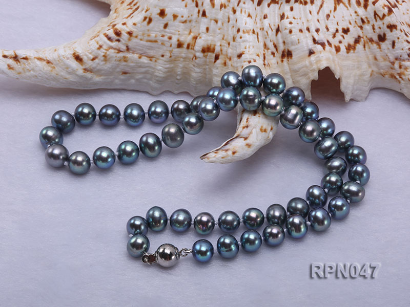 Fashionable Single-strand 8.5-9mm Black Round Freshwater Pearl Necklace-Sterling Silver Clasp big Image 4
