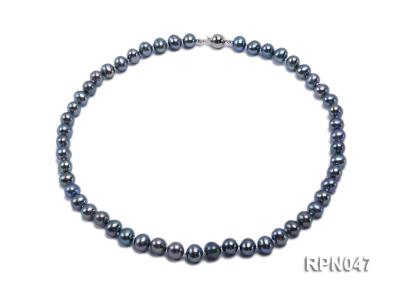 Fashionable Single-strand 8.5-9mm Black Round Freshwater Pearl Necklace-Sterling Silver Clasp RPN047 Image 1