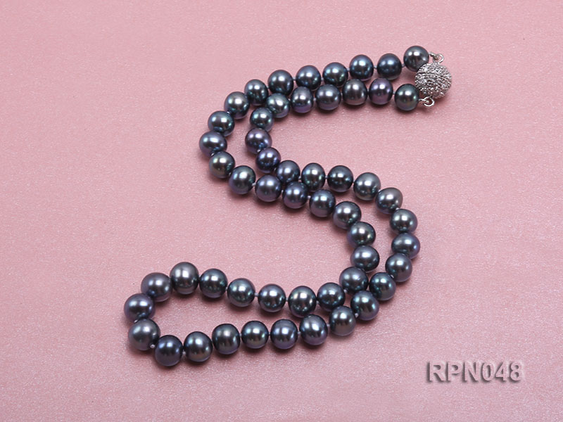Trendy Single-strand 8-9mm Black Round Cultured Freshwater Pearl Necklace with Zirconia Clasp big Image 2
