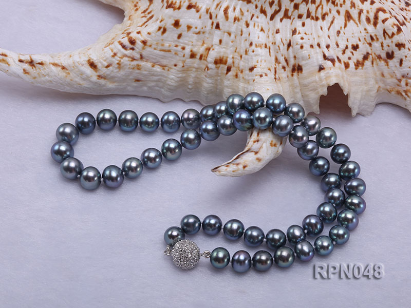 Trendy Single-strand 8-9mm Black Round Cultured Freshwater Pearl Necklace with Zirconia Clasp big Image 4