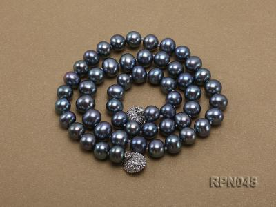 Trendy Single-strand 8-9mm Black Round Cultured Freshwater Pearl Necklace with Zirconia Clasp RPN048 Image 3