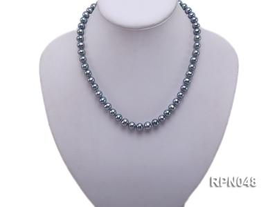 Trendy Single-strand 8-9mm Black Round Cultured Freshwater Pearl Necklace with Zirconia Clasp RPN048 Image 5