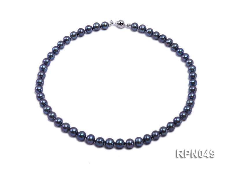Gorgeous Single-strand 8-9mm Peacock Round Freshwater Pearl Necklace-Sterling Silver Clasp big Image 1