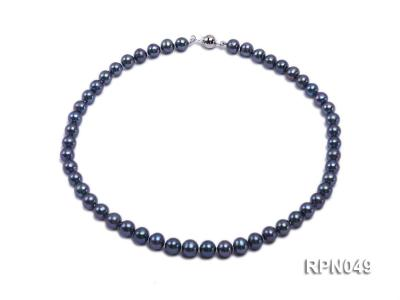 Gorgeous Single-strand 8-9mm Peacock Round Freshwater Pearl Necklace-Sterling Silver Clasp RPN049 Image 1