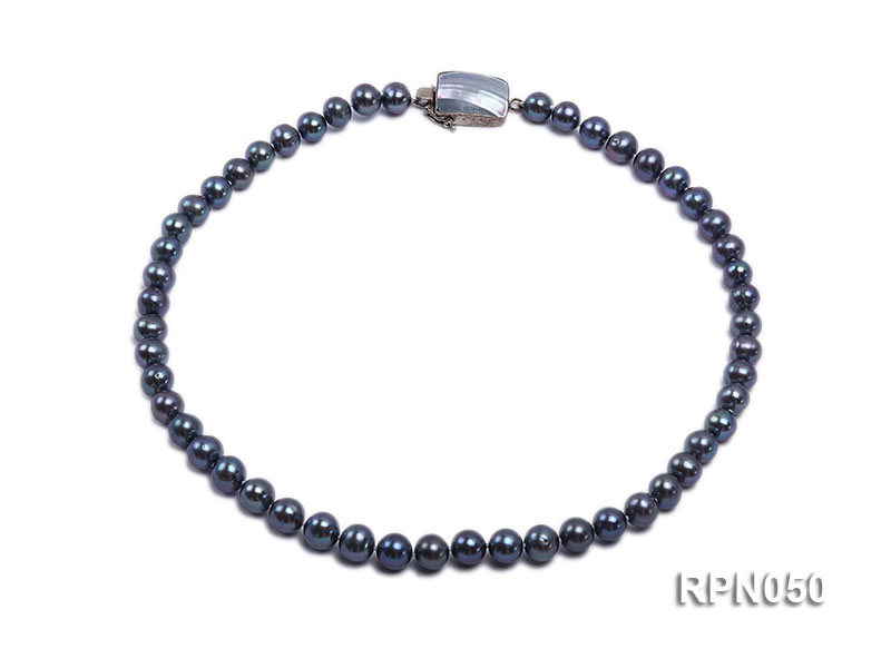 8-9mm Black Round Freshwater Pearl Necklace with Mabe Pearl Clasp big Image 1