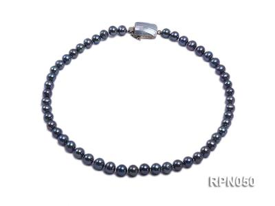 8-9mm Black Round Freshwater Pearl Necklace with Mabe Pearl Clasp RPN050 Image 1