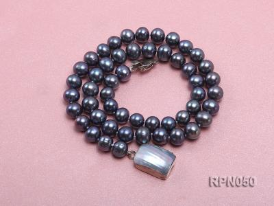 8-9mm Black Round Freshwater Pearl Necklace with Mabe Pearl Clasp RPN050 Image 3
