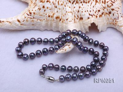 Fashionable Single-strand 7-7.5mm Black Round Freshwater Pearl Necklace  RPN051 Image 2