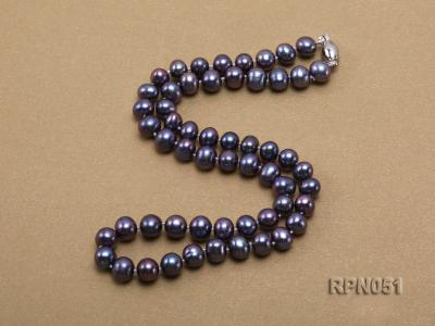 Fashionable Single-strand 7-7.5mm Black Round Freshwater Pearl Necklace  RPN051 Image 3