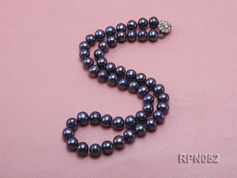 Fashionable Single-strand 8-9mm Black Round Freshwater Pearl Necklace big Image 2