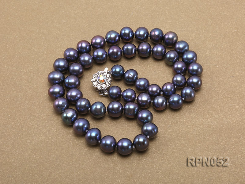 Fashionable Single-strand 8-9mm Black Round Freshwater Pearl Necklace big Image 3