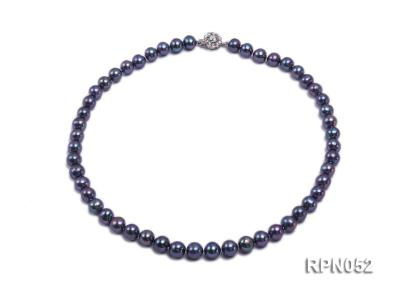 Fashionable Single-strand 8-9mm Black Round Freshwater Pearl Necklace RPN052 Image 1