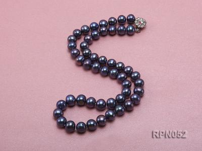 Fashionable Single-strand 8-9mm Black Round Freshwater Pearl Necklace RPN052 Image 2