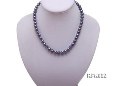 Fashionable Single-strand 8-9mm Black Round Freshwater Pearl Necklace RPN052 Image 5
