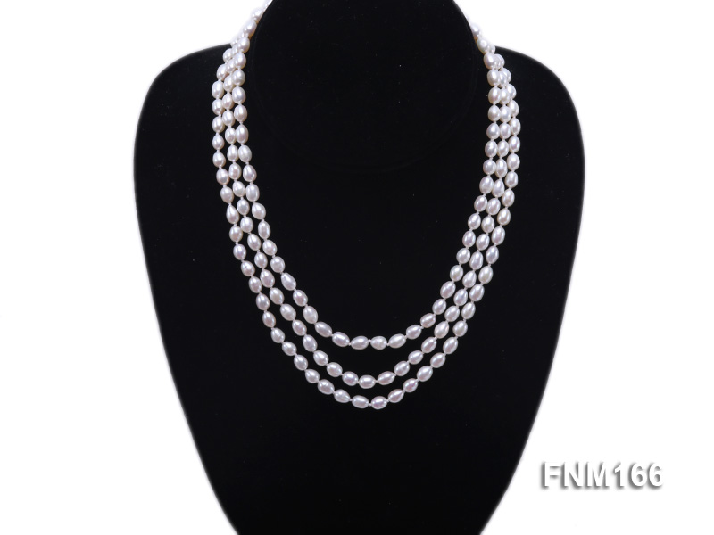 3 strand white oval freshwater pearl necklace with sterling slvier clasp big Image 1