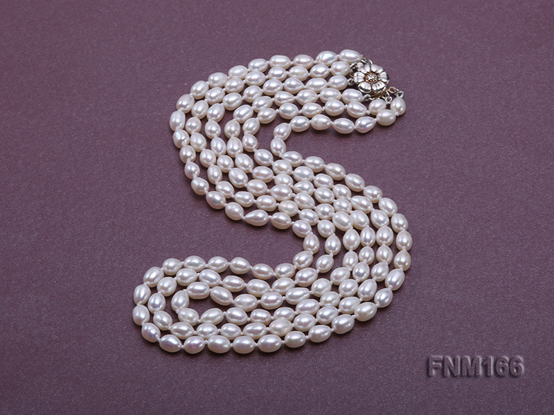 3 strand white oval freshwater pearl necklace with sterling slvier clasp big Image 2