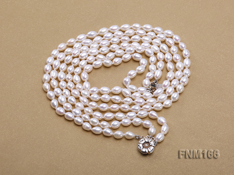 3 strand white oval freshwater pearl necklace with sterling slvier clasp big Image 3