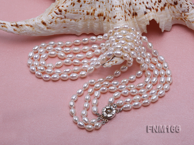 3 strand white oval freshwater pearl necklace with sterling slvier clasp big Image 4