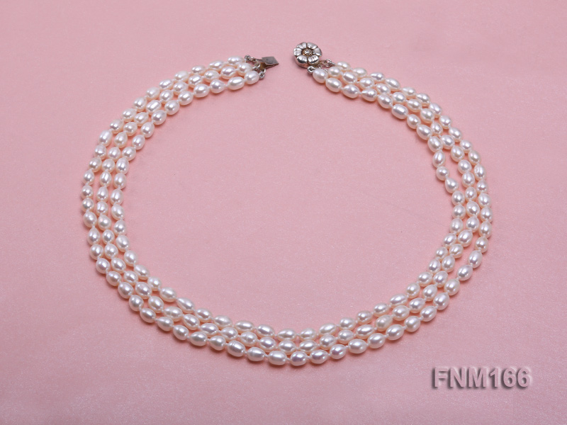 3 strand white oval freshwater pearl necklace with sterling slvier clasp big Image 5