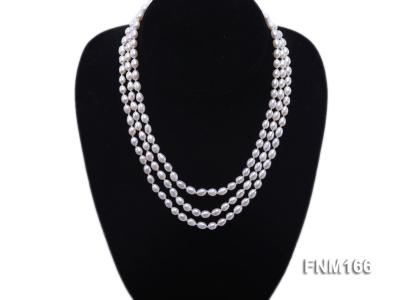 3 strand white oval freshwater pearl necklace with sterling slvier clasp FNM166 Image 1