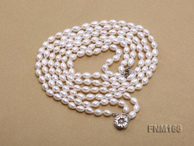 3 strand white oval freshwater pearl necklace with sterling slvier clasp FNM166 Image 3
