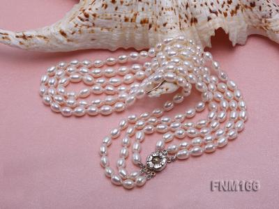 3 strand white oval freshwater pearl necklace with sterling slvier clasp FNM166 Image 4
