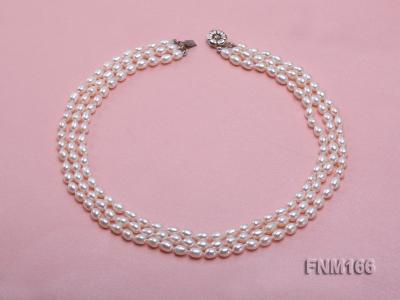 3 strand white oval freshwater pearl necklace with sterling slvier clasp FNM166 Image 5