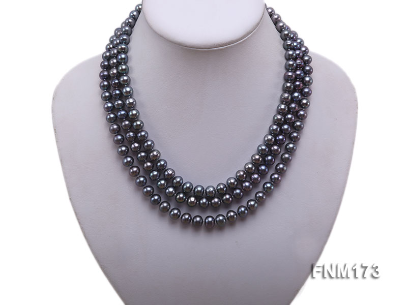 3 strand 8-9mm black freshwater pearl necklace big Image 1