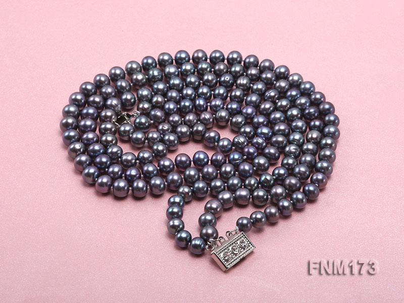 3 strand 8-9mm black freshwater pearl necklace big Image 4