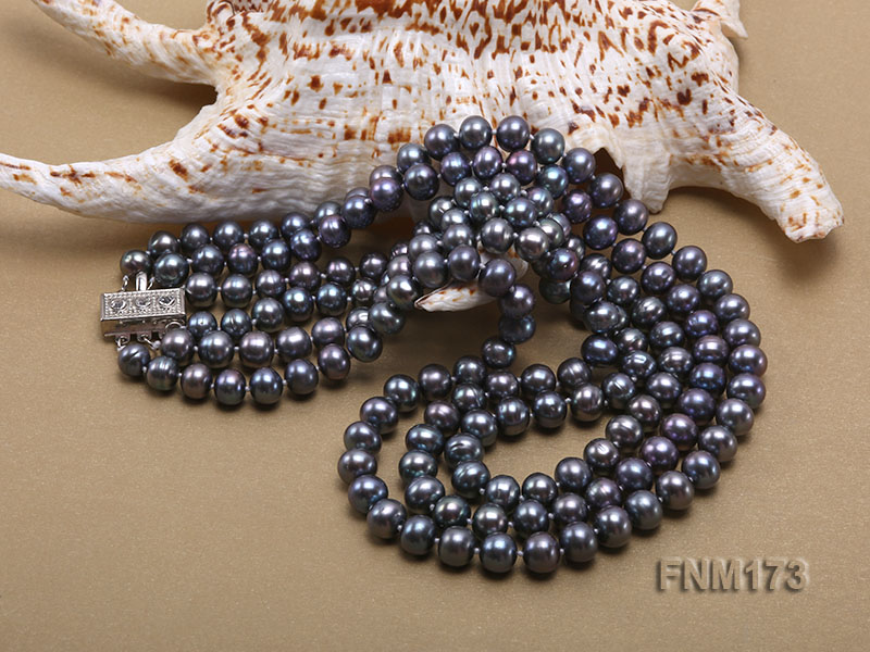 3 strand 8-9mm black freshwater pearl necklace big Image 5