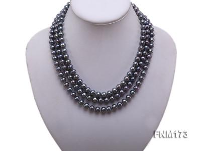 3 strand 8-9mm black freshwater pearl necklace FNM173 Image 1