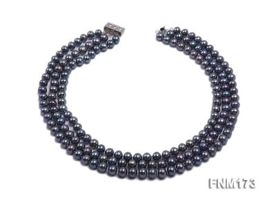 3 strand 8-9mm black freshwater pearl necklace FNM173 Image 2