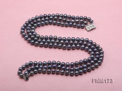 3 strand 8-9mm black freshwater pearl necklace FNM173 Image 3