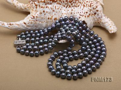 3 strand 8-9mm black freshwater pearl necklace FNM173 Image 5