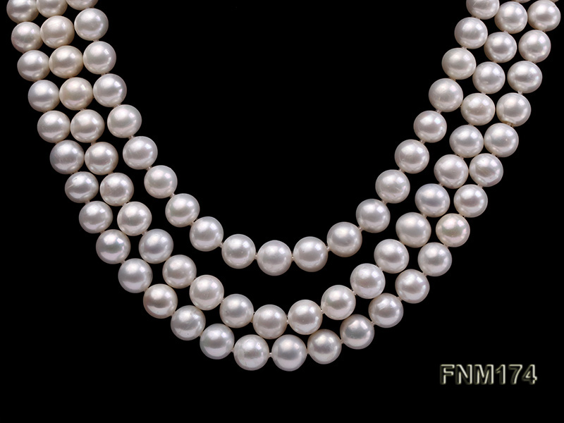 3 strand white 8-9mm round freshwater pearl necklace  big Image 2