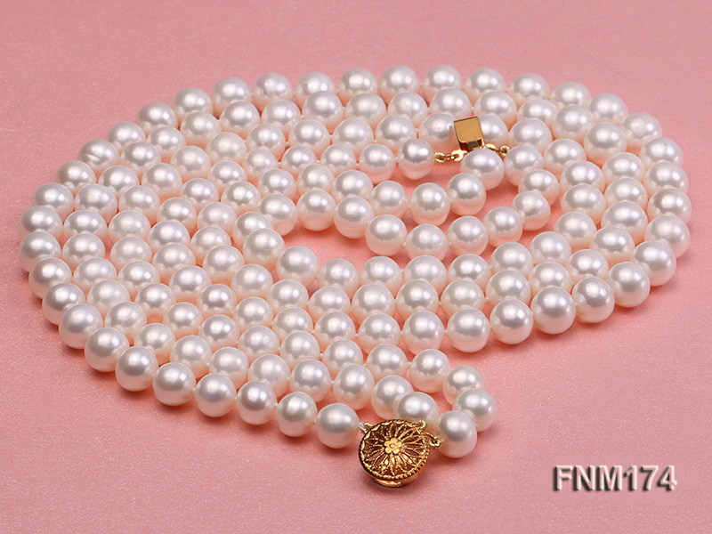 3 strand white 8-9mm round freshwater pearl necklace  big Image 3