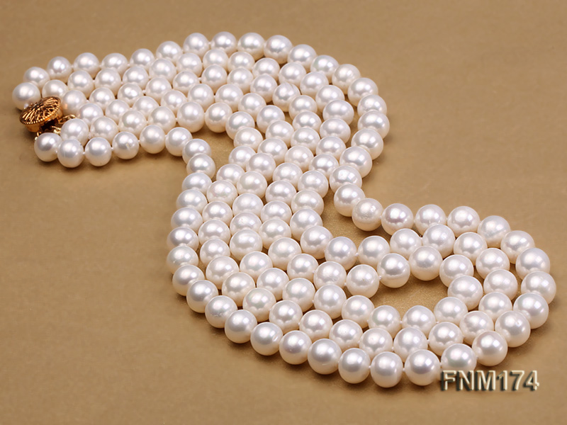 3 strand white 8-9mm round freshwater pearl necklace  big Image 4