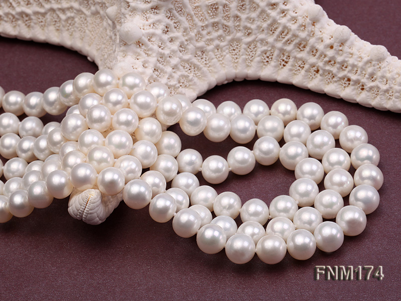 3 strand white 8-9mm round freshwater pearl necklace  big Image 5