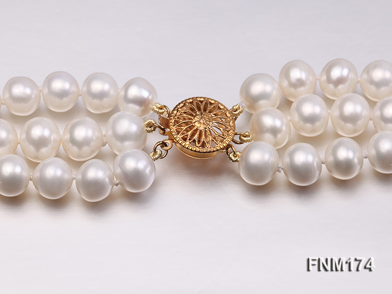 3 strand white 8-9mm round freshwater pearl necklace  big Image 6