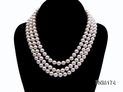 3 strand white 8-9mm round freshwater pearl necklace  FNM174 Image 1