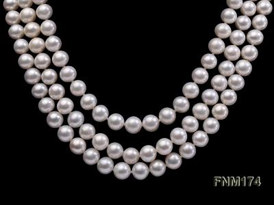 3 strand white 8-9mm round freshwater pearl necklace  FNM174 Image 2