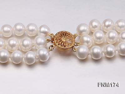 3 strand white 8-9mm round freshwater pearl necklace  FNM174 Image 6