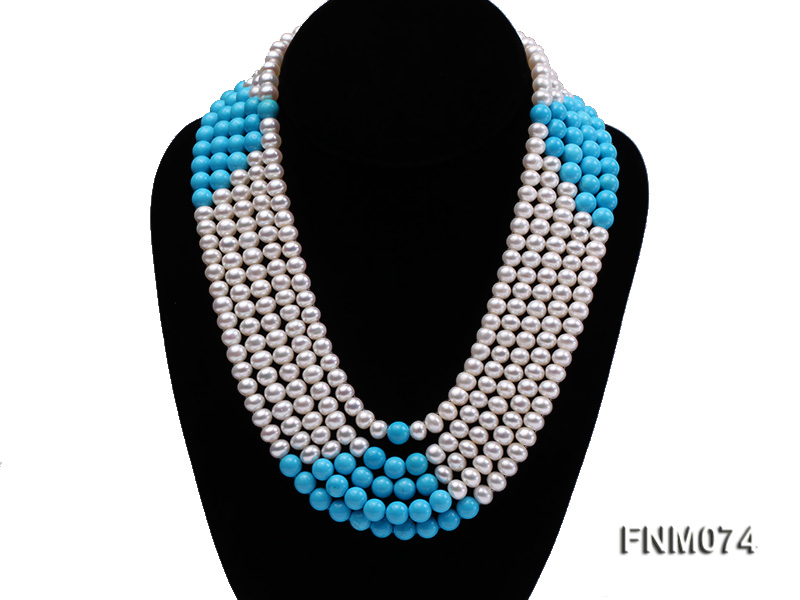 5 strand white freshwater pearl and bule round turquoise necklace big Image 1